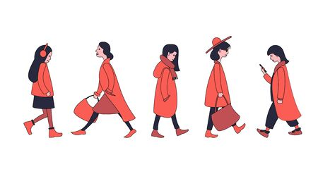 Girls and women in outerwear are on business, taking a walk. Running people set.
