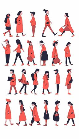 Walking and standing people in outerwear. Men and women of different ages strolling, going on business, standing still. Flat characters. Illustration