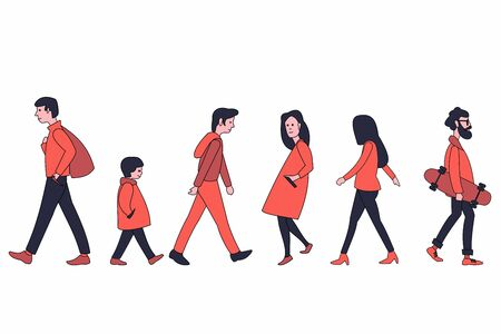 Walking people in outerwear. Men and women of different ages walking. Set of different people. Stock Illustratie