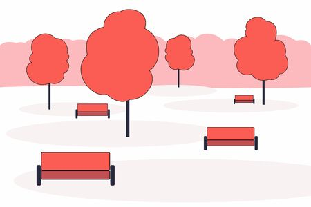 City park in a minimalistic flat style. Trees and benches. City landscape.