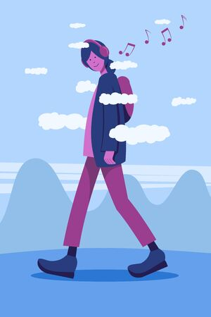 A very tall girl walking among the clouds listening to music with headphones on a background of hills and sky. Detachment. Stock Illustratie