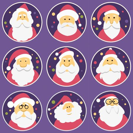 Set of diverse faces of Santa Clauses, set of icons. Christmas and New Year. Stock Illustratie