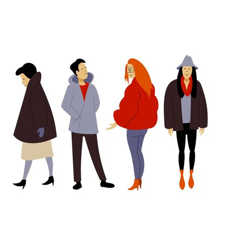 People dressed in winter clothes or outerwear, walks and stand in different poses. Vector flat cartoon illustration.