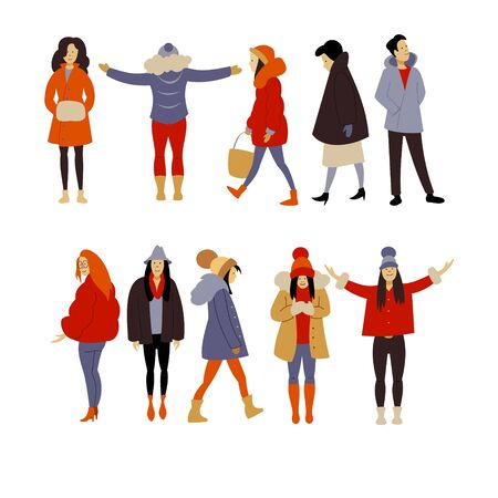 A crowd of people dressed in winter clothes or outerwear, walking down the street, standing still. A group of funny men, women and children. Set of flat cartoon vector illustrations. Stock Illustratie