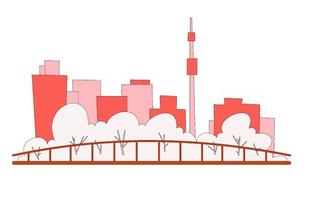Minimalistic cityscape on a white background. Park and silhouettes of tall houses.Vector. Stock Illustratie