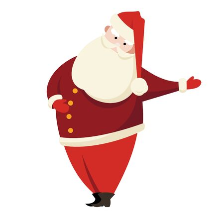 Funny cartoon Santa Claus in red suit with big white beard isolated on white background. Christmas illustration.