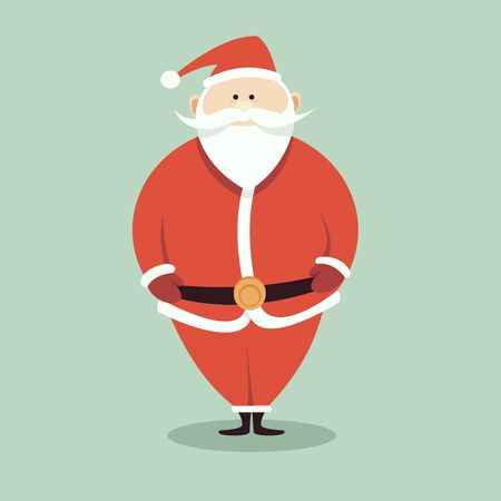 Funny cartoon Santa Claus in red suit with big white beard isolated on green background. Christmas illustration.