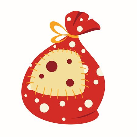 Cartoon red bag with gifts and a yellow patch isolated on a white background.