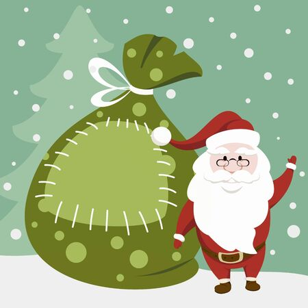 Funny Santa Claus is standing next to a huge gift bag. Christmas and New Year card.