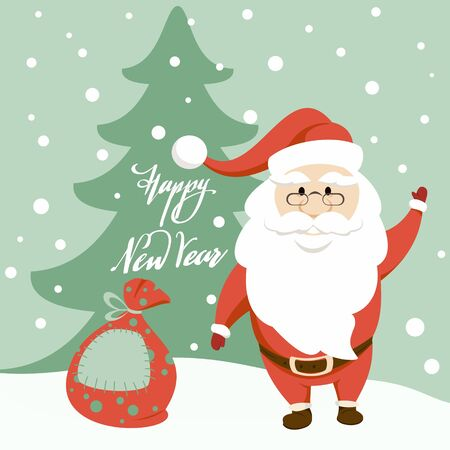 New Year and Christmas card. Santa Claus waving his hand, silhouette of a Christmas tree with the inscription Happy New Year and a bag with gifts lying in the snow.