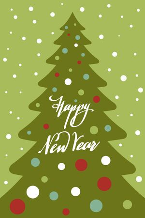Minimalistic flat image of Christmas tree with toys and Happy New Year lettering. New Year and Christmas card. Stock Illustratie
