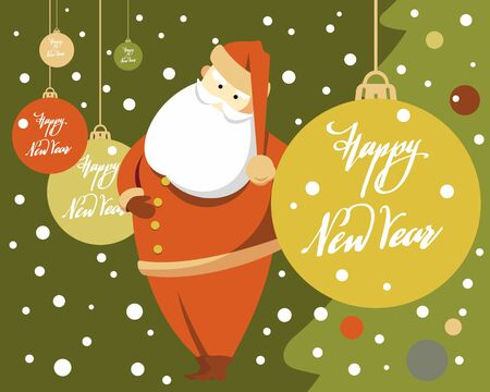 Minimalistic flat image of Santa Claus and Christmas tree with toys and Happy New Year lettering. New Year and Christmas card.