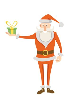 Funny cartoon Santa Claus in red traditional costume stands holding in his hand a gift isolated on white background. Flat vector christmas character.
