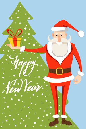 Funny Santa Claus and the inscription Happy New Year against the background of the silhouette of a Christmas tree and falling snow. Christmas and New Year card. Flat vector illustration.