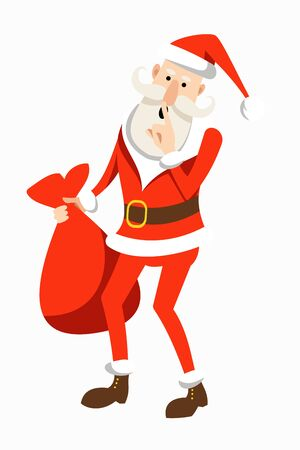 Cartoon Santa Claus in a traditional costume with a bag of gifts in his hand, presses a finger to his lips. New Year and Christmas card. Flat vector illustration.