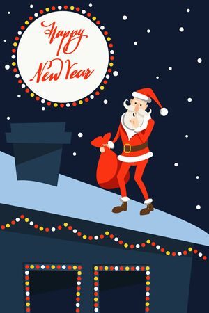 Cartoon Santa Claus in a traditional costume with a bag of gifts in hand is walking on the roof of the house against the background of the starry sky and the moon with the inscription Happy New Year.