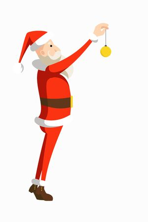 Cartoon Santa Claus in a traditional red costume hangs a Christmas tree toy standing on tiptoe. Flat vector illustration.