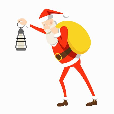 Cartoon Santa Claus in a traditional red costume running with a bag with gifts on his shoulder and with a kerosene lamp in his hand. Flat vector character.