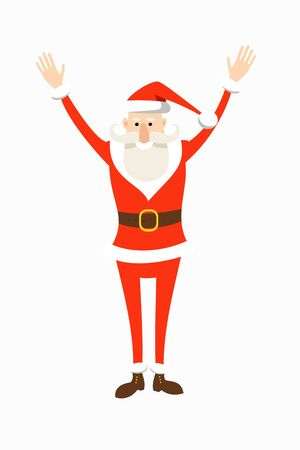 Cartoon Santa Claus in a red suit stands holding his hands up in greeting. Flat vector christmas character.