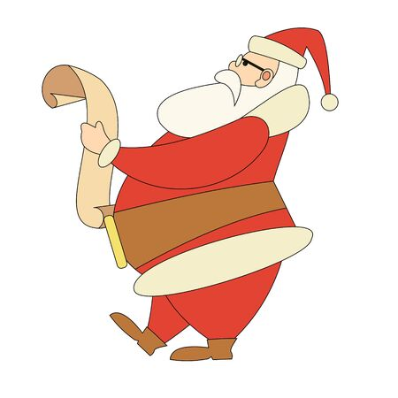 Cartoon Santa Claus in traditional costume reads scroll. Christmas flat character.