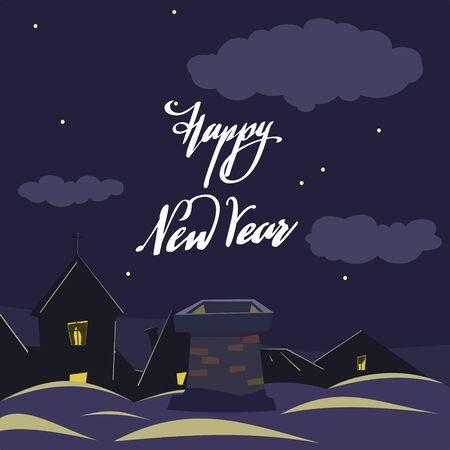 Old chimney on the roof and Happy New Year lettering against the night starry sky. Christmas card.