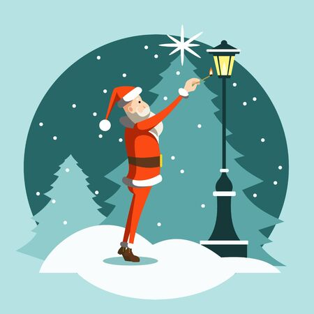 Santa Claus lighting a street lamp on a background of the Christmas tree. Christmas and New Year card. Festive flat character.