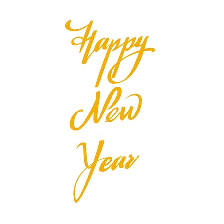 Happy New Year lettering, calligraphy isolated on white background. Stock Illustratie