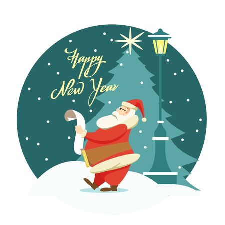 Cartoon Santa Claus reading a scroll standing next to a street lamp against the background of a Christmas tree and the night sky. Lettering Happy New Year. Christmas and New Year card.