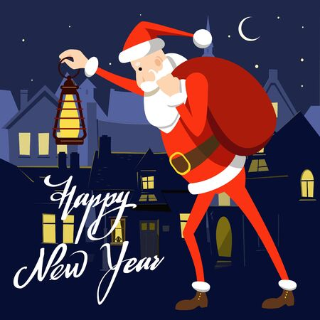 Cartoon Santa Claus walking with an old lantern and a bag with gifts on the background of a night old city. New Year card. Stock Illustratie