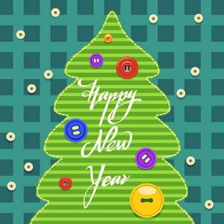 A stylized image of a Christmas tree in the form of sewn fabric and Christmas toys in the form of buttons. New Year card.