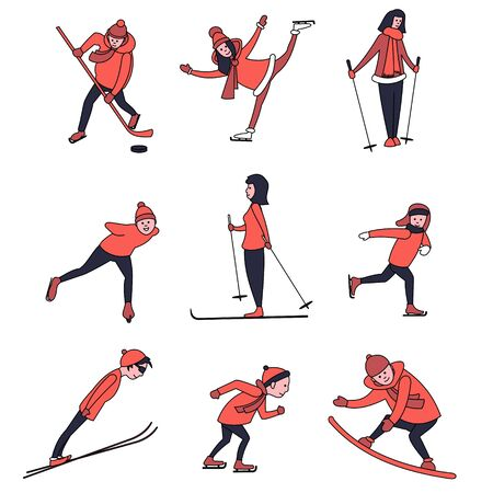People in winter outerwear, men and women go in for winter sports, ski, ice skate and snowboard. Vector flat characters. Stock Illustratie