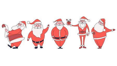 Set of different characters of Santa Claus in a minimalistic flat style in different poses.
