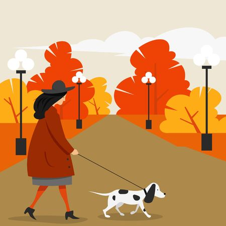 Girl in outerwear walking with a dog in a city park. Flat character, vector illustration.