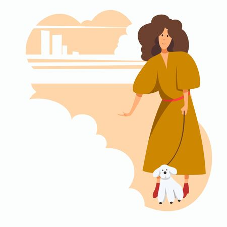 A girl in outerwear walking with a dog in a city park against the backdrop of the cityscape. Flat character, vector illustration.