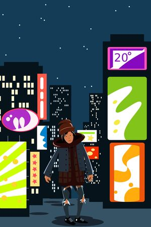 A young guy in modern street clothes is standing against the lights of a night metropolis. Vector illustration. Night city. Stock Illustratie