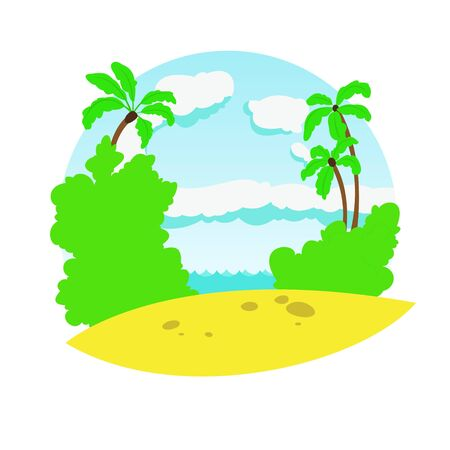 Stylized vector image of the sea beach, palm cloudy sky and vegetation. Stock Illustratie
