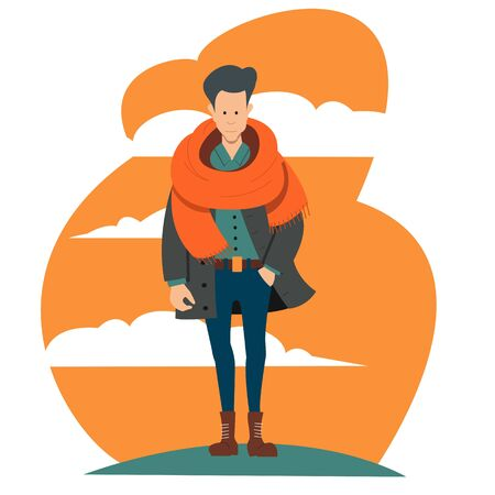 A young guy in outerwear with a large scarf in blue trousers on an abstract background. Flat vector character. Stock Illustratie