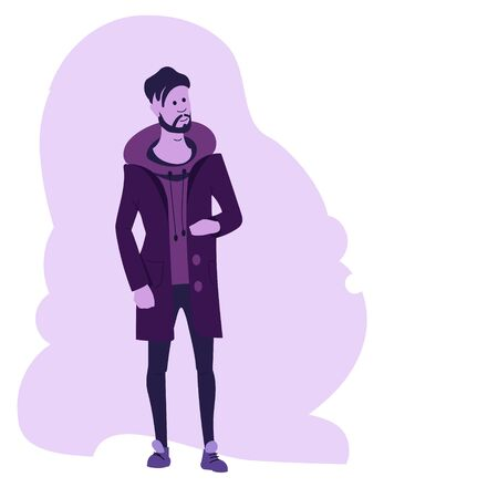 Young hipster guy with a beard and a fashionable hairstyle in outerwear on a background of abstract background. Flat vector character. Stock Illustratie
