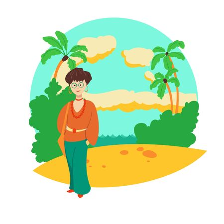 An elegant middle-aged woman in fashionable summer clothes stands against a tropical landscape. Vector illustration. Stock Illustratie