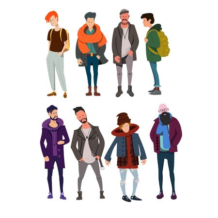 Young men in modern clothes stand isolated on white background. Youth and hipsters. Flat vector characters.