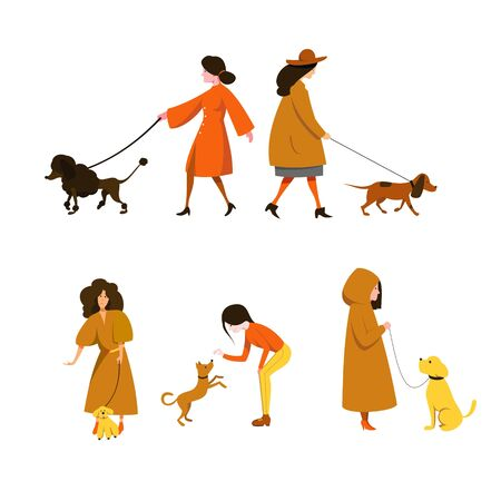 Girls in outerwear are walking and playing with dogs of different breeds. Flat vector characters.