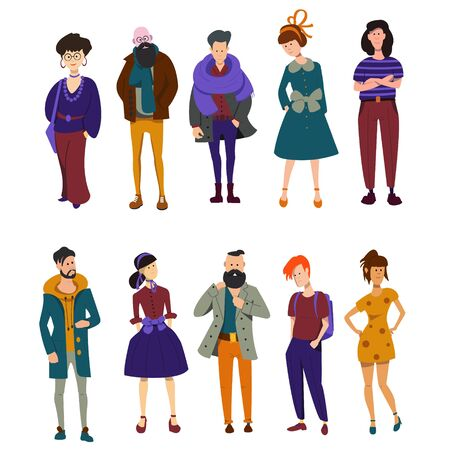 Set of different vector people. Young men and women ,, various poses in modern fashionable clothes. Cute and simple modern flat cartoon style. Stock Illustratie