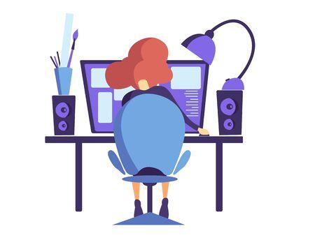 A woman sitting at a table works at a computer. Working designer, web designer, Internet user. Flat vector illustration.
