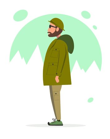 A man in camping clothes with glasses standing on a background of snow-capped mountains. Flat vector illustration.