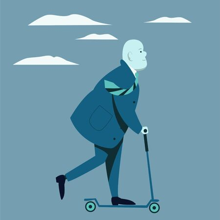 A very fat man in a business suit is riding a scooter. Funny flat character.