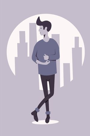 A young guy with a fashionable hairstyle stands cross-legged against the background of the silhouette of a big city. Flat vector character.