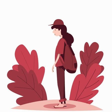 A young guy with long hair in a cap and a backpack stands in the middle of the vegetation. Traveler Flat vector character.