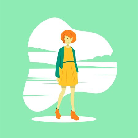 A young red-haired girl in a summer dress stands against the backdrop of a sea landscape. Travel and tourism. Flat vector character.
