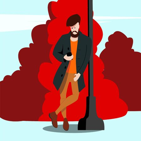 Young hipster guy in fashionable clothes is standing in a park leaning against a post and looking at a smartphone. Flat vector character.