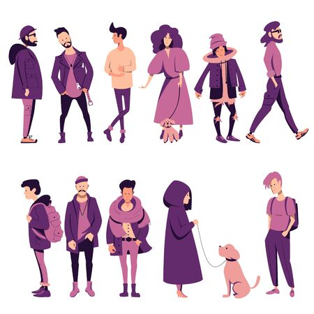 A set of people of different sex and age in outerwear, with backpacks, men and women standing in different poses, going about their business. Flat vector characters. Stock Illustratie